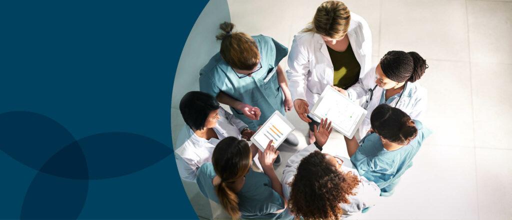 Interdisciplinary team (IDT) members reviewing care area assessments (CAAs).